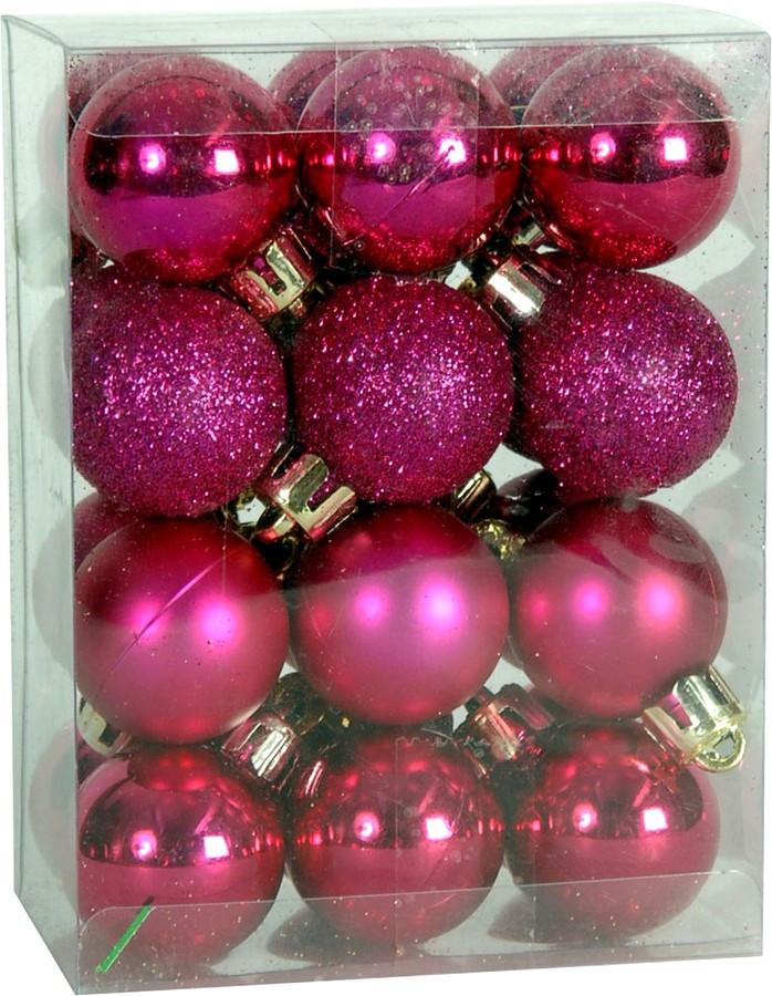 Χριστουγεννιάτικη μπάλα φούξια 2,5εκ. Set 24τμχ. ΦΟΥΞΙΑ (04.B-2524-F)