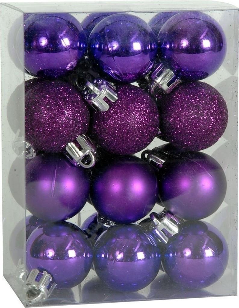 Χριστουγεννιάτικη Μπάλα 4 εκ Set 24 τμχ ΜΩΒ (04.B-4024-PUR)