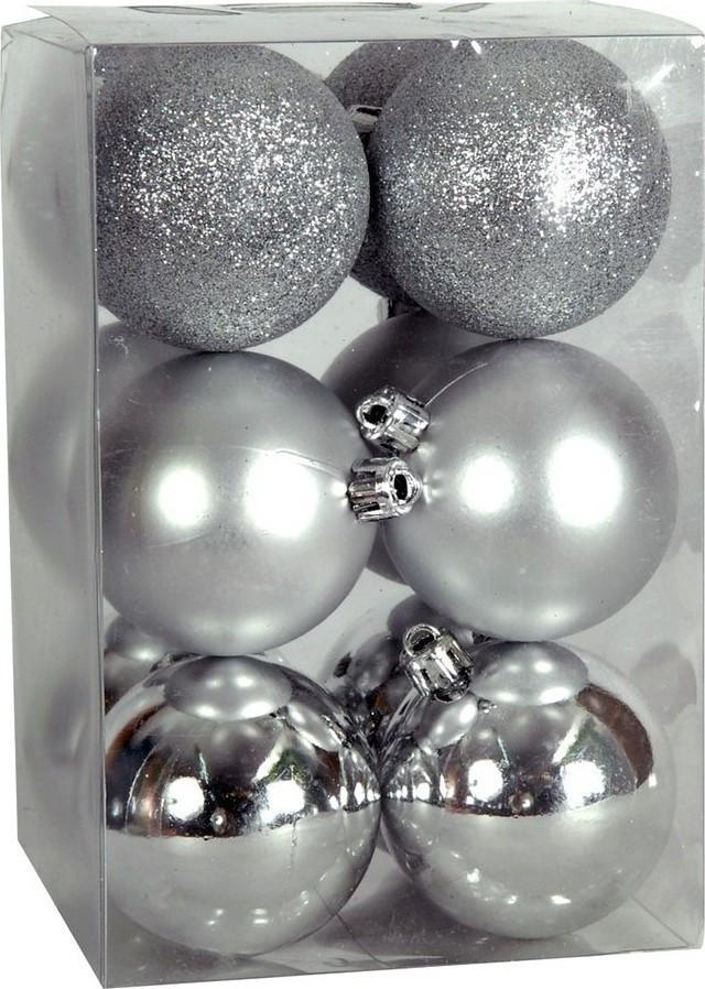 Χριστουγεννιάτικη μπάλα 8εκ. Set 24τμχ. ΑΣΗΜΙ (04.B-8012-S)