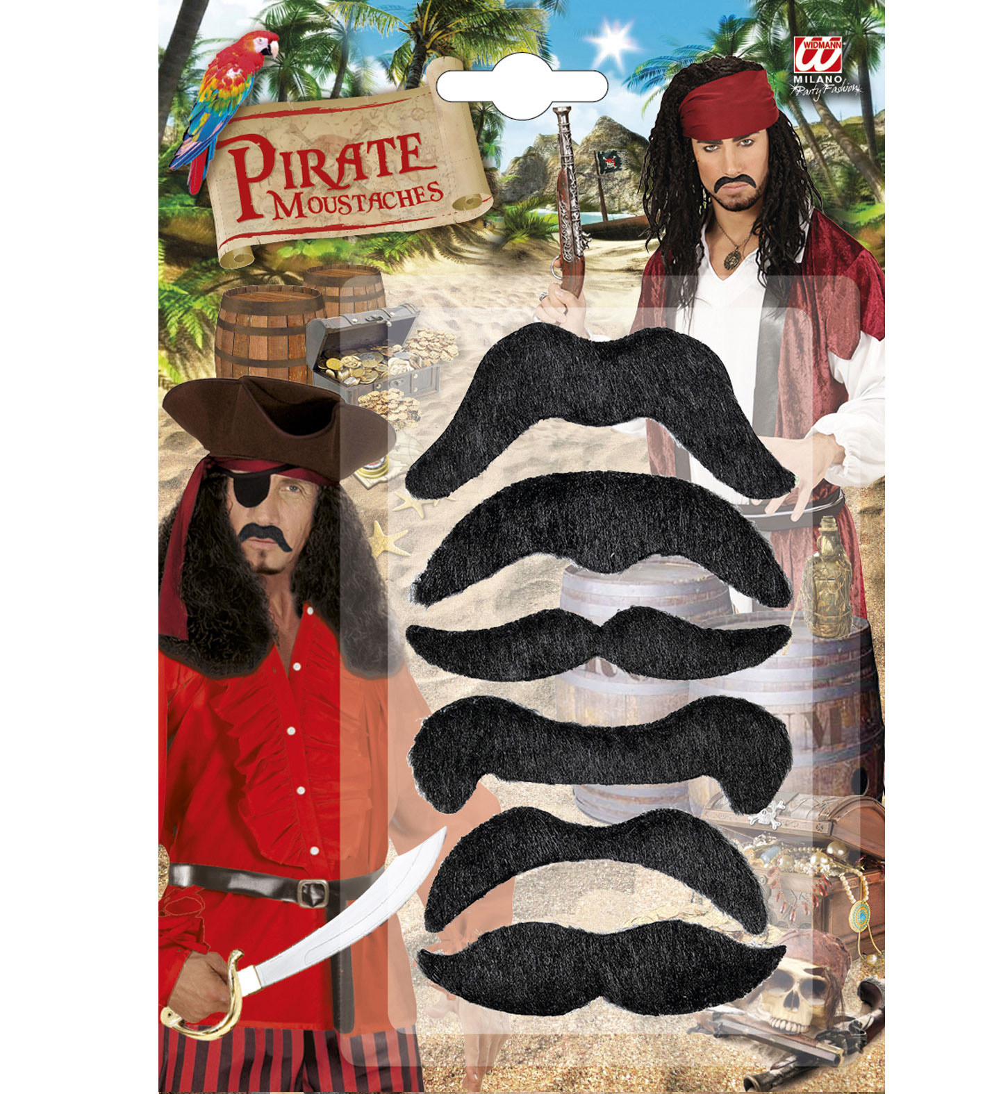 """""""Set of 6 PIRATE MOUSTACHES"""""""