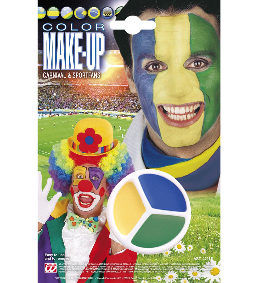 """""""CARNIVAL & SPORTFANS TRICOLOR MAKE-UP IN TRAY"""" yellow / blue / green"""
