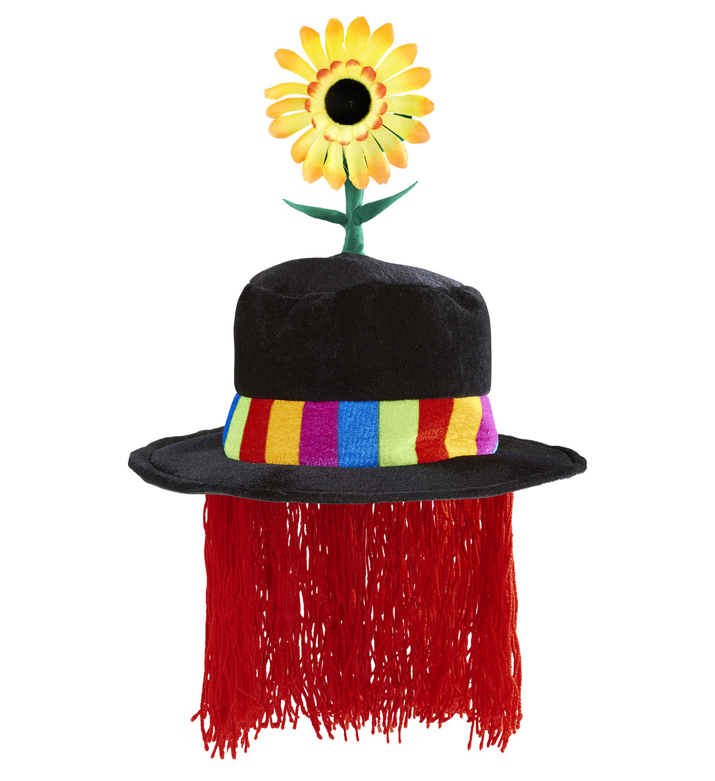"""VELVET CLOWN HAT WITH SUNFLOWER AND HAIR"""