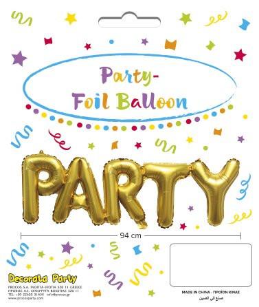 Decorata Gold Foil Party Μπαλόνια - Χρυσό (089653)