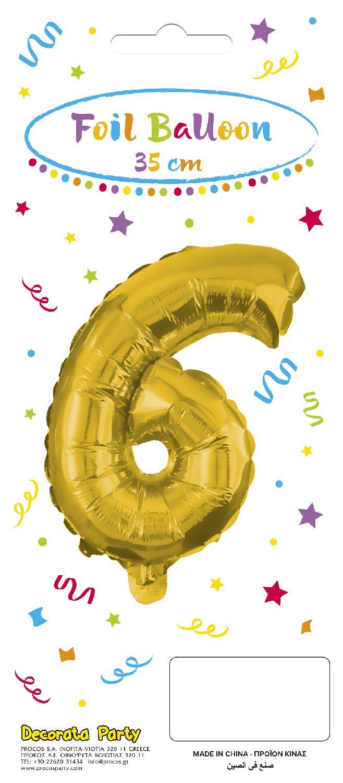Decorata Party Gold Foil No 6 Μπαλόνι - Χρυσό (089647)