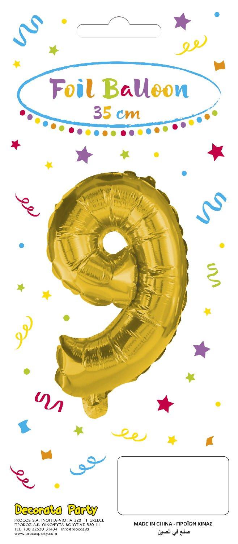 Decorata Party Gold Foil No 9 Μπαλόνι - Χρυσό (089650)