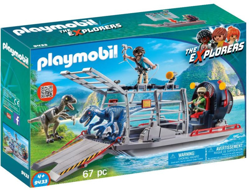 Playmobil Ταχύπλοο Λαθροκυνηγών Με Κλουβί Δεινοσαύρων (9433)