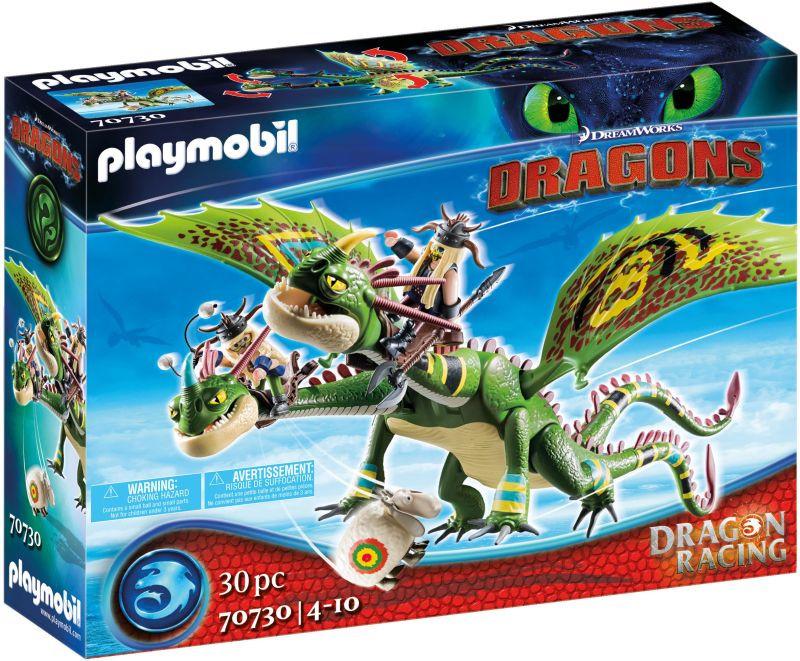 Playmobil Dragons Πέτρος και Πέτρα με δικέφαλο δράκο Ρέψιμο και Αναγούλα (70730)