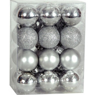 Χριστουγεννιάτικη Μπάλα 4 εκ Set 24 τμχ ΑΣΗΜΙ (04.B-4024-S)