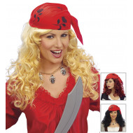 """PIRATE WENCH WIG WITH HEADSCARF"" in polybag - 3 colors ass."