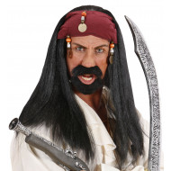 """PIRATE OF THE CARIBBEAN WIG WITH BANDANA & BEADS"""