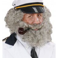 """CHARACTER CURLY WIG & BEARD"" grey"