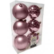 Χριστουγεννιατικη Μπαλα Πλαστικη 8Αρα Σετ 6Τμχ Ροζ (04.TB-8006/P)