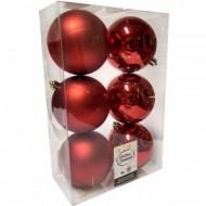 Μπάλα Κόκκινη 80 ΜΜ Χριστουγγενίατικη Σετ 6τμχ