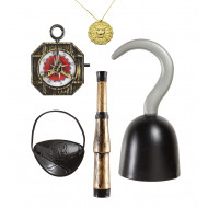 """PIRATE ACCESSORIES"" (hook, compass, spyglass, eyepatch, necklace with medallion)"