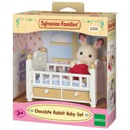 Sylvanian Families Chocolate Rabbit Μωρό & Κούνια