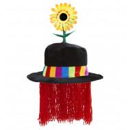 """VELVET CLOWN HAT WITH SUNFLOWER AND HAIR"""