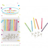 Decorata 20 Κεράκια Γενεθλίων με 10 Βάσεις - 20τμχ (006651)