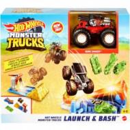 Hot Wheels Monster Trucks Launch And Bash Play Εκτόξευση Και Σύγκρουση GVK08