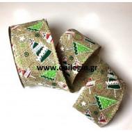 Χριστουγεννιάτικη κορδέλα λινάτσα πράσινη με παιδικά σχέδια 10m