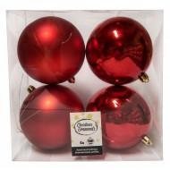 Χριστουγεννιατικη Μπαλα Πλαστικη 10Αρα Σετ 4Τμχ Κοκκινη