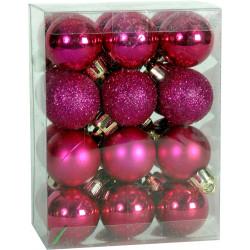 Χριστουγεννιάτικη μπάλα 2,5εκ. Set 24τμχ. ΦΟΥΞΙΑ (04.B-2524-F)