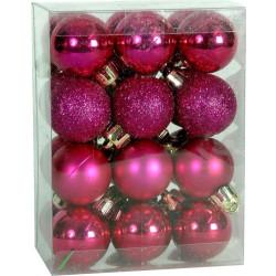 Χριστουγεννιάτικη Μπάλα 4 εκ Set 24 τμχ ΦΟΥΞΙΑ (04.B-4024-F)