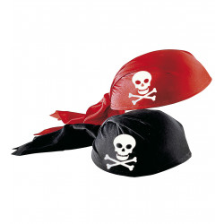 """FABRIC PIRATE HAT"" red & black ass."