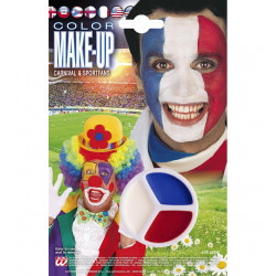 """""""CARNIVAL & SPORTFANS TRICOLOR MAKE-UP IN TRAY"""" white / red / blue"""