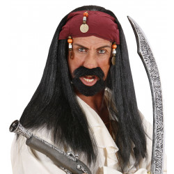 """""""PIRATE OF THE CARIBBEAN WIG WITH BANDANA & BEADS"""""""